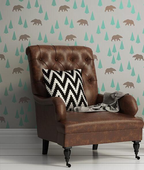 niedźwiedź w lesie na ścianę